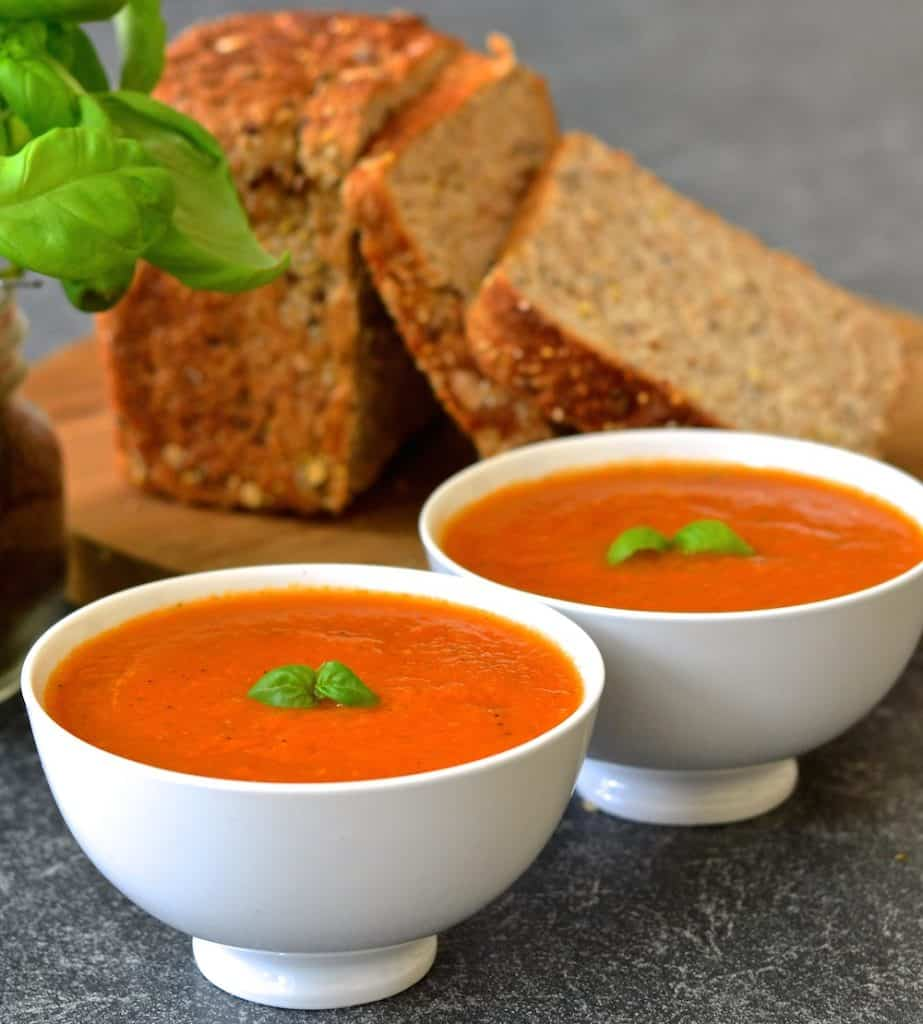 Juicy, plump tomatoes & aromatic fresh basil come together beautifully in this fresh and vibrant soup which takes only ten minutes to make.