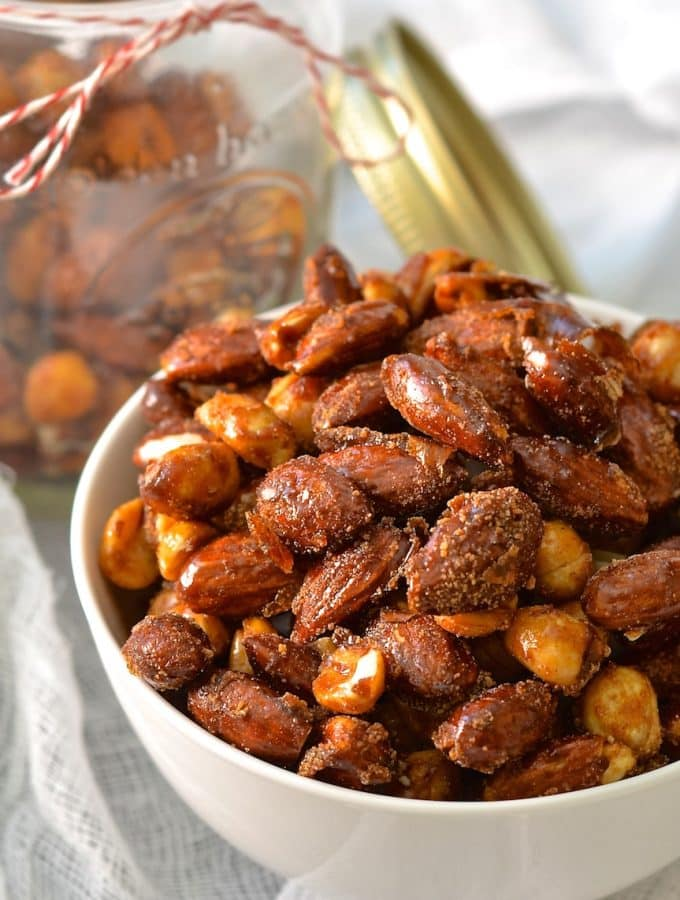 Perfectly sweet & spicy, chewy & crunchy vegan candied nuts. Make a double batch because everybody will go nuts for these!