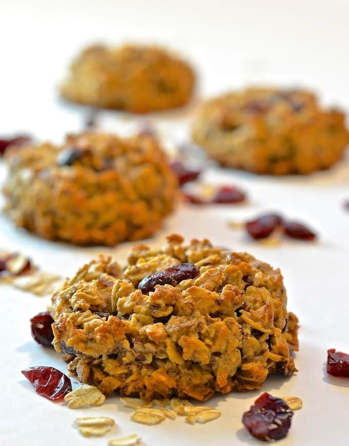 Grab and go breakfasts don't get any better than these Cranberry & Coconut Breakfast Cookies. Dense, crunchy, chewy, delicious and bursting with ruby red cranberries!