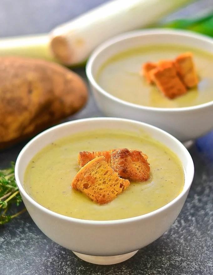 Vegan Potato Leek Soup with crispy golden croutons