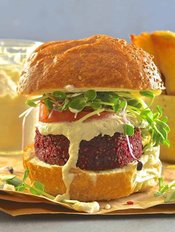 Bring on the burgers! These Beet Lentil & Quinoa Burgers are big, hearty & flavourful. A splodge of creamy horseradish sauce complements the earthy beets perfectly & provides a veggie burger taste sensation!