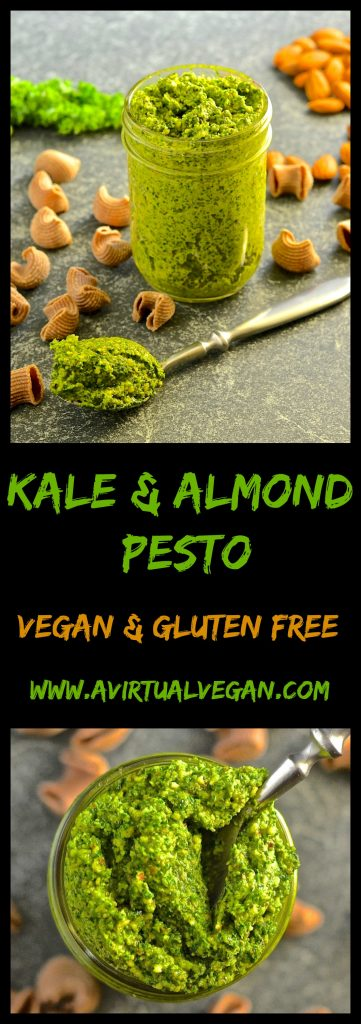 This Kale & Almond Pesto makes a wonderful alternative to traditional basil pesto plus it's cheaper to make & it's dairy free. Stir through freshly cooked pasta for a super fast & nutritious meal!