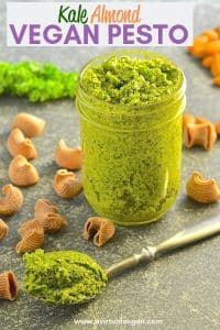 This Kale Almond Vegan Pesto makes a wonderful alternative to traditional basil pesto plus it's cheaper to make & it's dairy free. Stir through freshly cooked pasta for a super fast & nutritious meal!