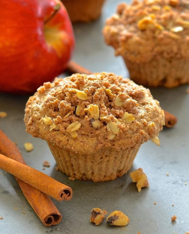 Vegan apple muffins, loaded with sweet, tender fruit.