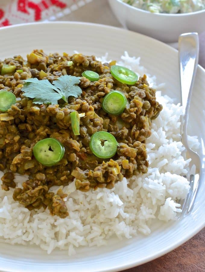 These spicy & flavourful Indian style Keema Lentils are ridiculously easy to make. Cook in a pan for a speedy dinner or use a slow cooker for a more leisurely approach.