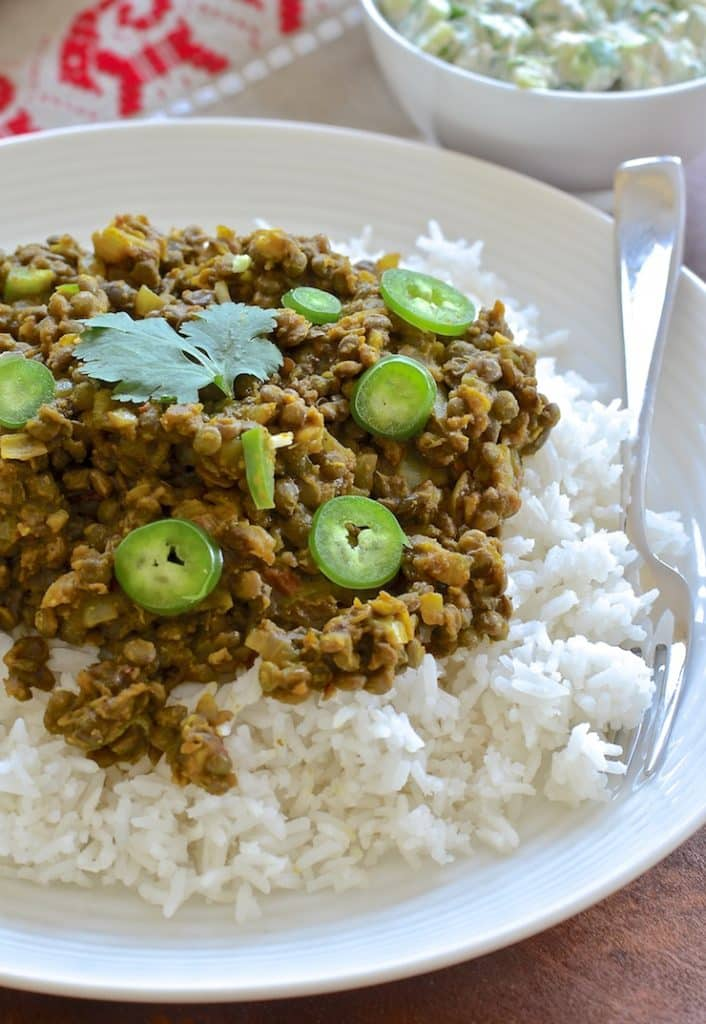 These spicy & flavourful Indian style Keema Lentils are ridiculously easy to make. Cook in a pan for a speedy dinner or use a slow cooker for a more leisurely approach. Serve with my simple & refreshing cucumber raita & some rice for a delicious & satisfying meal.