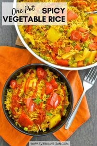 This One-Pot Spicy Vegetable Rice is our go to favourite mid-week dinner. 30 minutes & one pot is all that is standing between you & a big bowl full of deliciously spiced, flavourful rice studded with sweet, soft veggies.