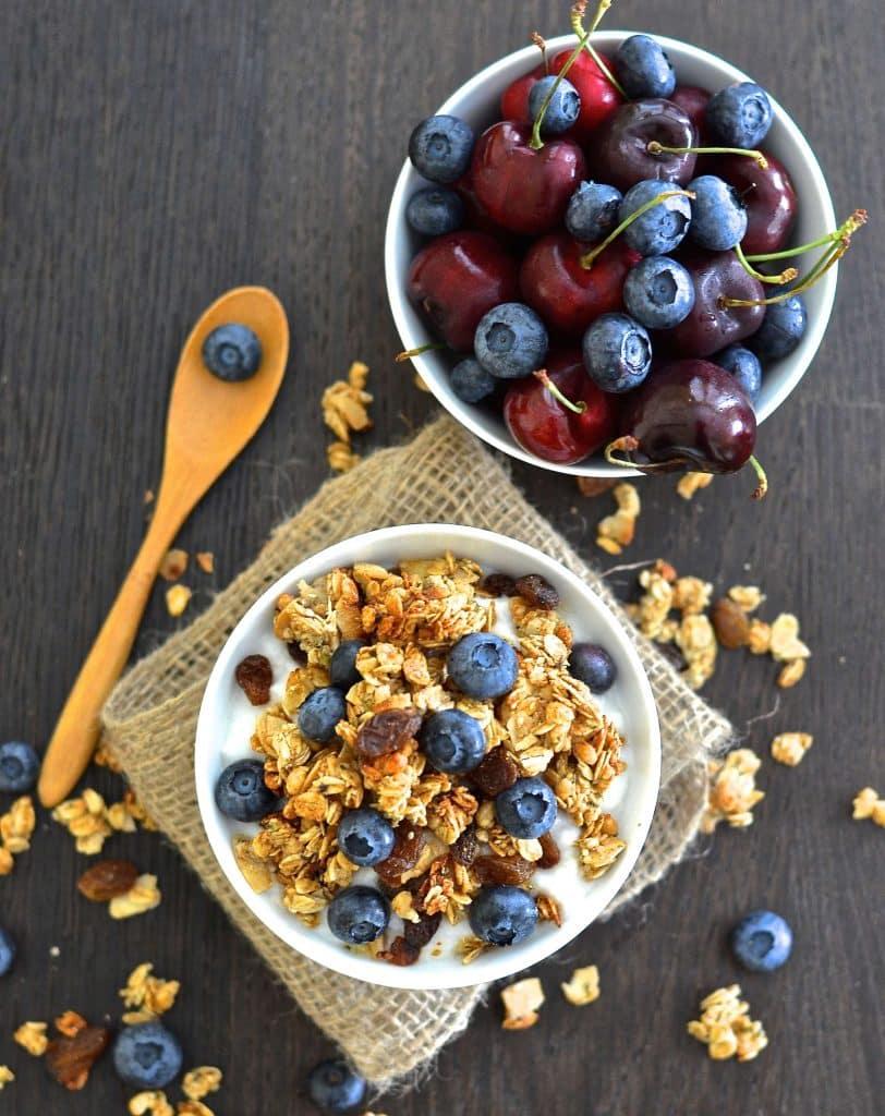 Vegan Almond Hemp Granola in a bowl with fresh fruit
