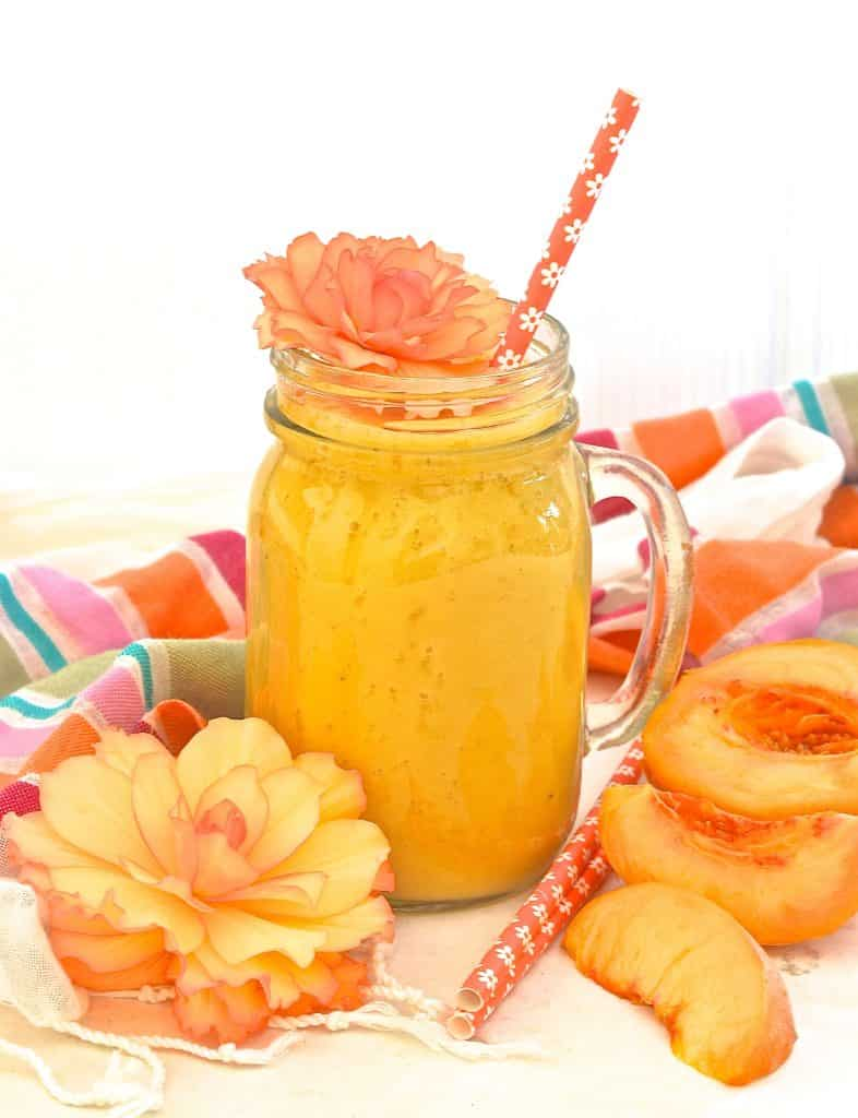 Fresh juicy peaches & the fragrant warmth of fresh ginger combine to make this beautiful, fresh, summery & delicious Ginger Peach Smoothie.