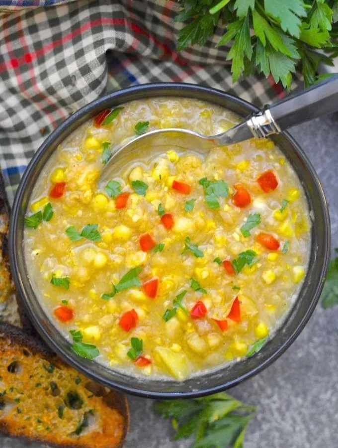 A luscious, comforting and creamy Vegan Corn Chowder that is ready from start to finish in under 30 minutes & has only 5 ingredients!