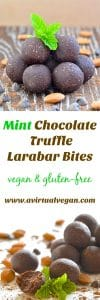 Copycat Mint Chocolate Truffle Larabar Bites can be made in minutes and are full of wholesome plant-based ingredients. They taste like chewy mint chocolate brownies & are perfect for satisfying your sweet cravings!