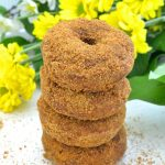 Moist, soft & fluffy, oil-free Pumpkin Orange Donuts. Baked to perfection then rolled in sugar. So easy to make & no mixer required! All you need is a spoon & a bowl. No donut pan? Don't worry, I've got you covered, but just so's you know....everything tastes better in donut shape! ;O) www.avirtualvegan.com