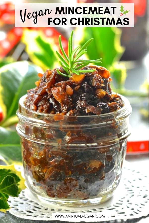 Festive, rich & fruity Vegan Mincemeat steeped in boozy deliciousness! A Christmas staple that is really easy to make & can be used in all sorts of ways. It's also perfect for gifting.