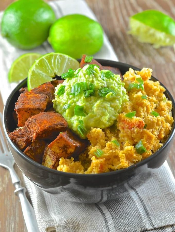 Find your bliss with The Classic Power Bowl from Blissful Basil. A delightful combination of spicy cauliflower rice, warming & crisp sweet potatoes & creamy, garlicky avocado mash.