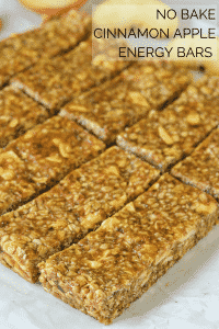 Incredibly delicious No-Bake Cinnamon Apple Energy Bars. A delicious mix of chewy & crispy & so quick & easy to make!