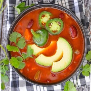 Super tasty Chili Soup that can be made quickly on the stove-top or more slowly in a slow cooker. Simple, comforting & delicious with only 8 ingredients!