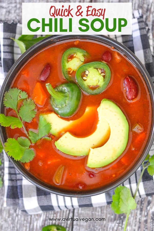 Super tasty Chili Soup that can be made quickly on the stove-top or more slowly in a slow cooker.Simple, comforting & delicious with only 8 ingredients (plus water & salt)!
