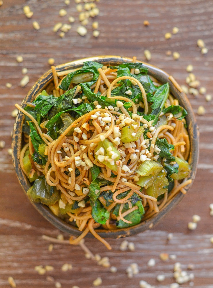 This Swiss Chard Soba Noodle Stir Fry is super quick & easy to make & is tossed with the most delicious sweet, savoury & spicy 'instant' sauce!