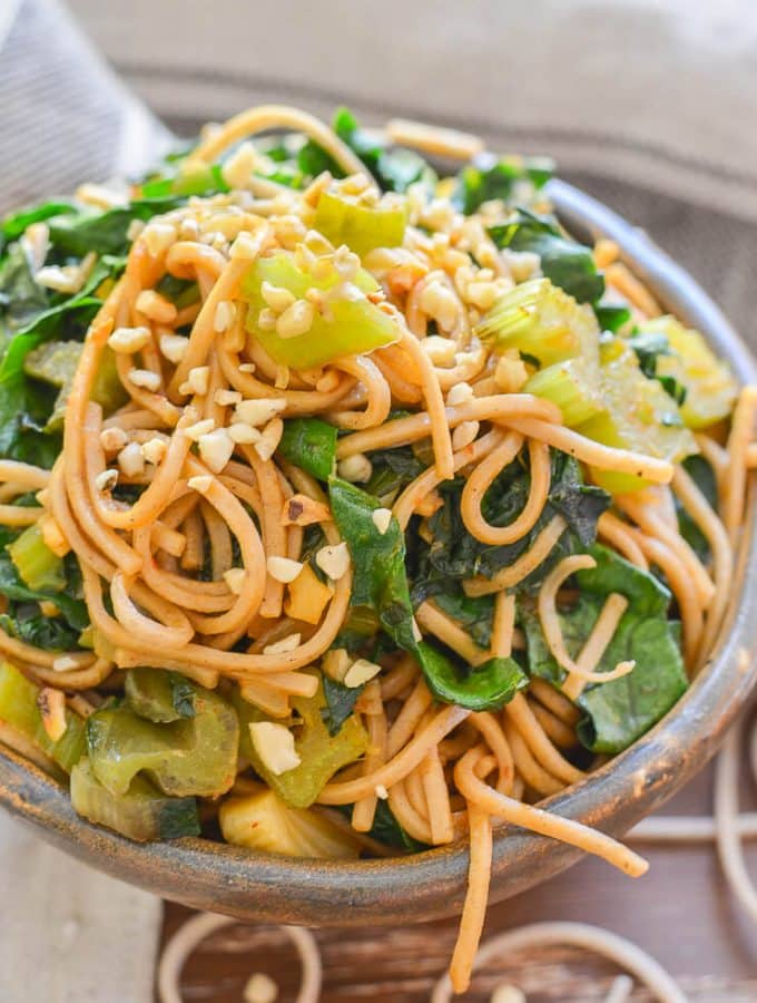 This Swiss Chard Soba Noodle Stir Fry is super quick & easy to make & is tossed with the most delicious sweet, savoury & spicy maple, tamari 'instant' sauce!