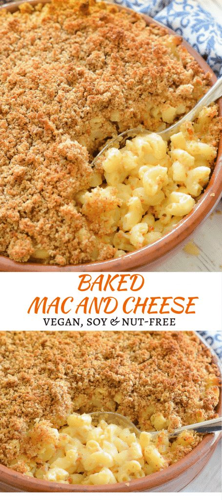 The ultimate Baked Vegan Mac and Cheese. Cheesy, saucy macaroni topped with an irresistible buttery & golden crispy crumb topping. No dairy, no nuts, no soy & easily made gluten-free. Prepare to get saucy!