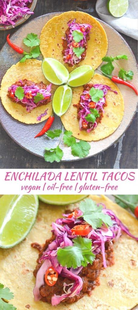 Rich & tasty Enchilada Lentil Tacos topped with zesty lime slaw. A full on flavour sensation!