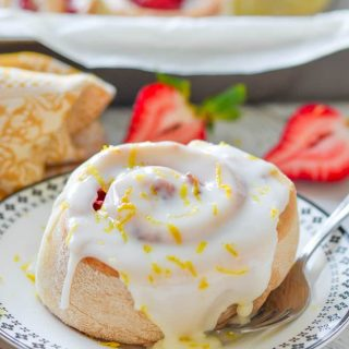 strawberry sweet rolls with drippy lemon frosting