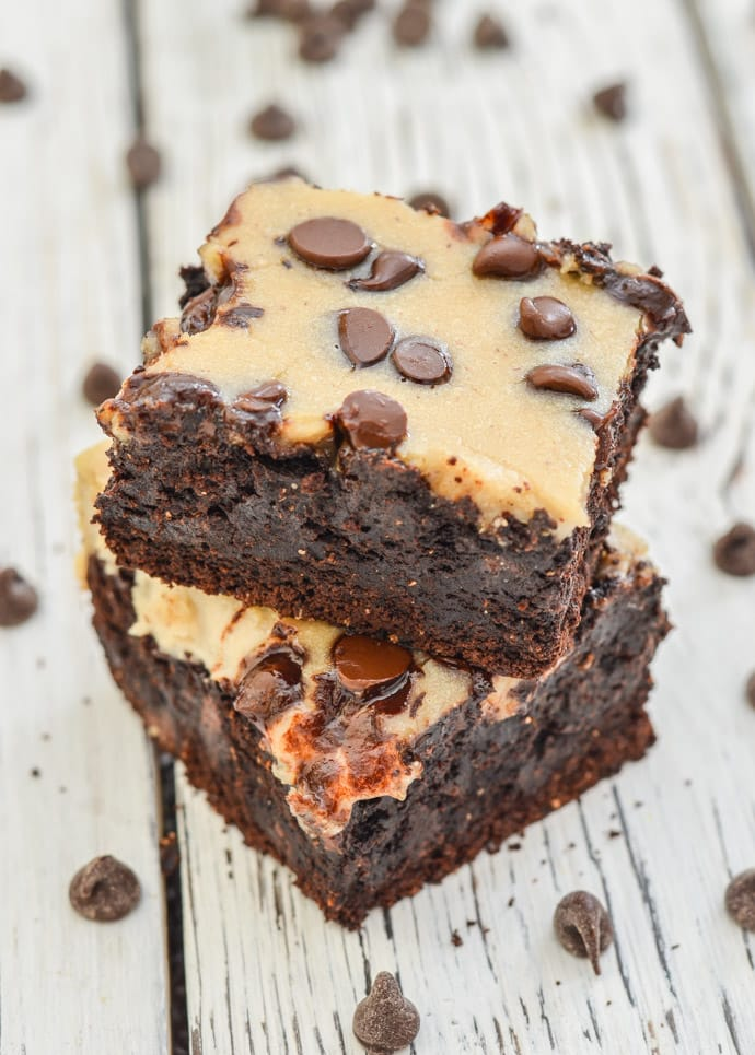 Fudgy vegan brownies in a stack from above