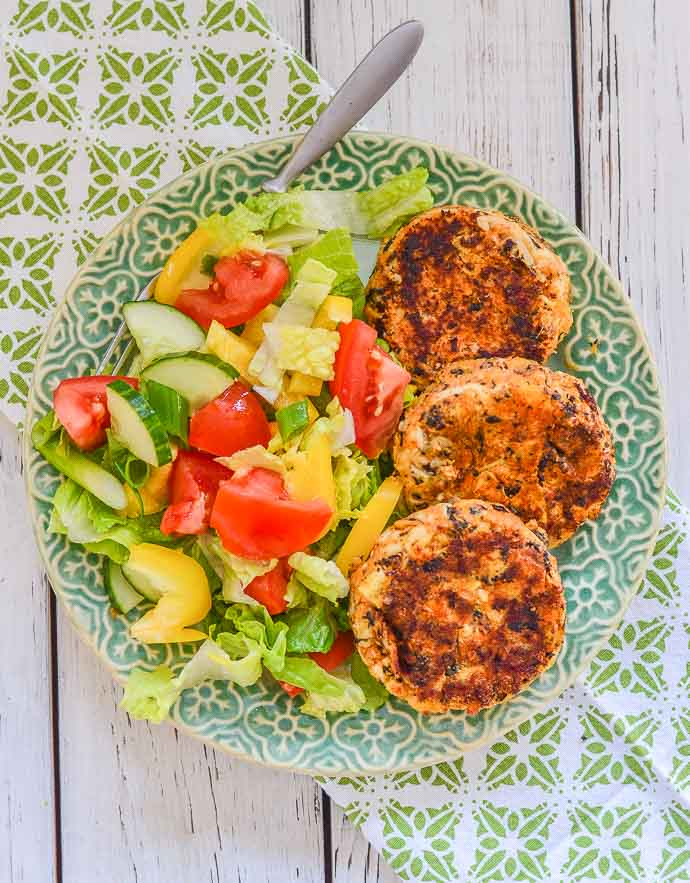 Thai Style Vegan Crab Cakes with salad from above