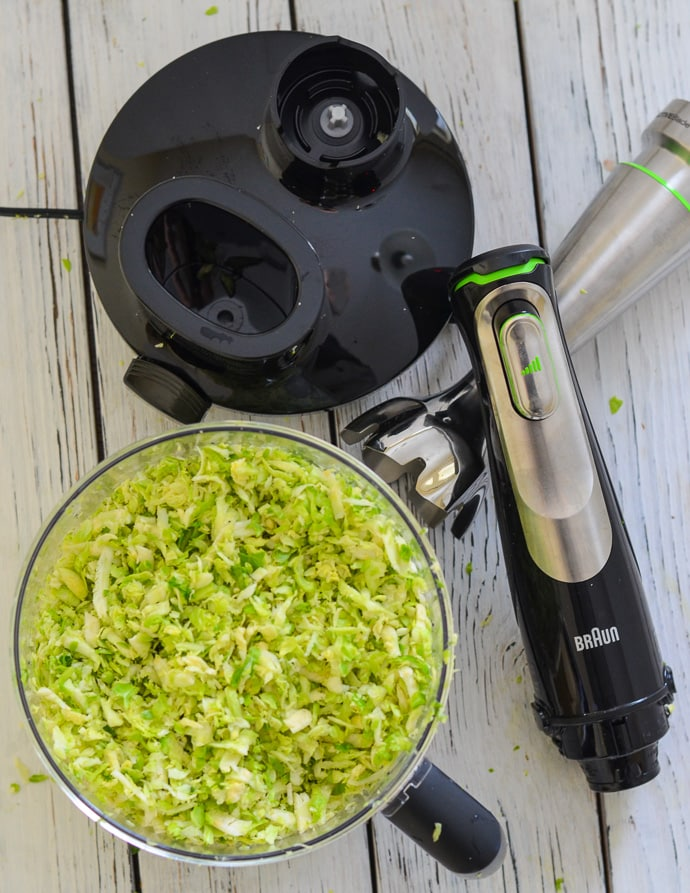 Shredded Brussels Sprouts from the Braun MultiQuick9 ready to make Cranberry Pecan Brussels Sprout Salad