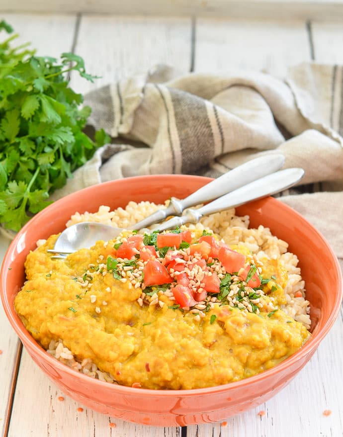 Creamy Red Lentil Dahl served up in a bowl