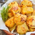 Crispy Roasted Potatoes in terracotta bowl