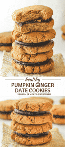 Perfectly tender & slightly chewy, these date-sweetened, super Healthy Pumpkin Ginger Date Cookies are perfect for snacking, refuelling or for when you want a healthier dessert.