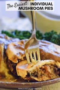 Tender, juicy, meaty portobello mushroom, stuffed with sweet caramelized onions, a sprinkling of thyme, all topped with buttery, crisp pastry. This is seriously the easiest Vegan Mushroom Pie you will find & it's soooo good!!! Perfect for making in advance too!