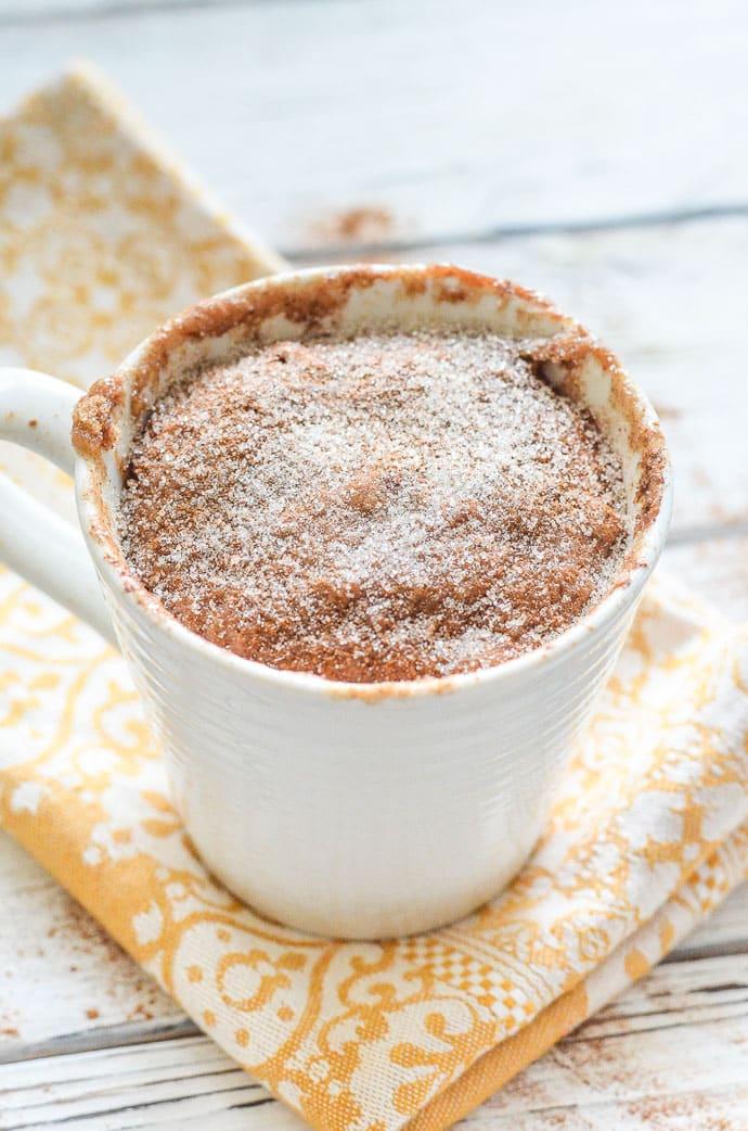 Snickerdoodle Mug Cake sprinkled with sugar and cinnamon