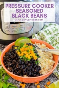 My Seasoned Pressure Cooker Black Beans recipe makes a simple, tasty, healthy & budget friendly dinner. It's also perfect for batch cooking as the beans are great used as a base for other meals!