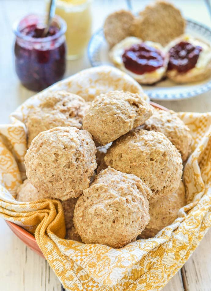 Healthy Vegan Biscuits with Almonds piled up in a bowl