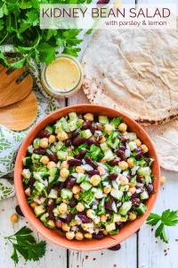 This simple, protein packed Kidney Bean Salad with Lemon & Parsley is filled with texture & bright, refreshing, zesty flavours. Perfect as a side or for a healthy, light lunch!