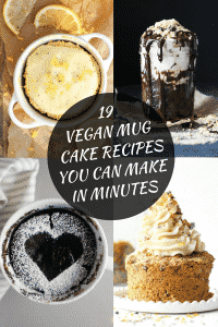 19 amazing and very decadent vegan mug cake recipes just waiting to be made by you! All vegan and most are ready in 1 minute or under. Zero to dessert in 60 seconds has got to be a good thing!