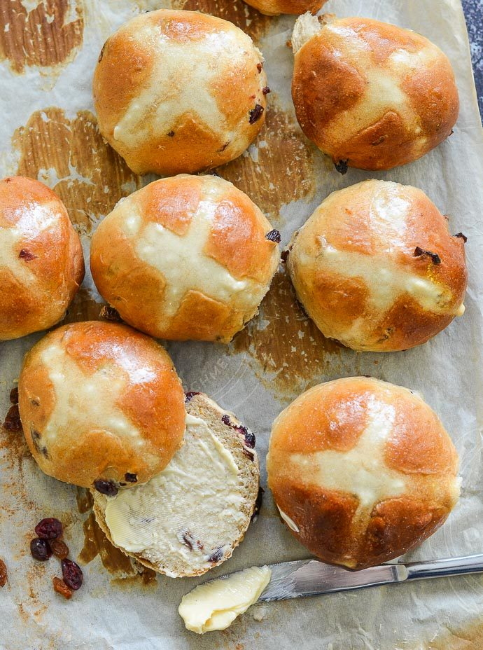 Hot Cross buns on a tray taken from above