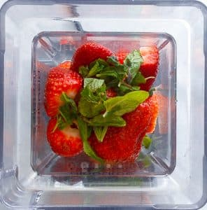 strawberries and mint in blender