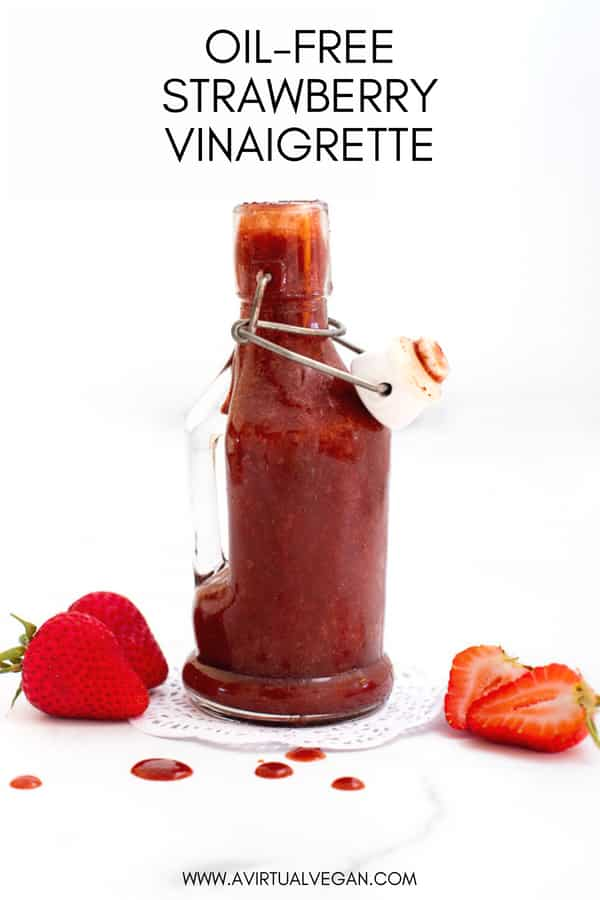 A really simple and super tasty, completely oil-free Strawberry Vinaigrette. The flavour is amazing. Such a lovely balance of sweet and tangy. It's ready in a couple of minutes and keeps for up to a week in the fridge too!