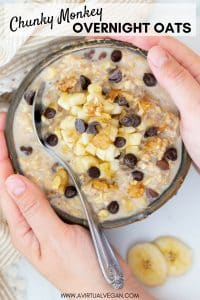Overnight Oats Chunky Monkey Style! We're talking banana, nuts, chocolate, creamy oatmeal & no cooking! Perfect for quick, healthy breakfasts on the go!