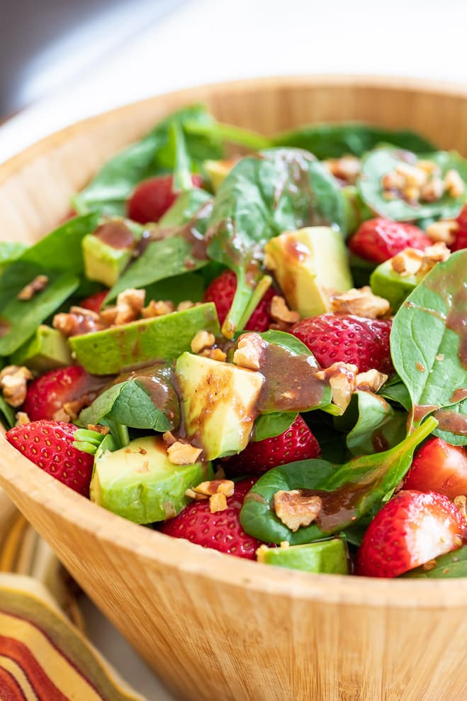 Strawberry Spinach Salad drizzled with Oil-Free Strawberry Vinaigrette