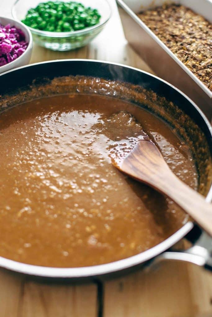 vegan gravy in a pan
