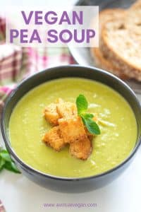 A bowl of brilliant green goodness to warm your soul! This Vegan Pea Soup is healthy, low calorie, packed with protein and super simple to make. With only 6 ingredients (plus salt & pepper) you probably already have everything you need to make it too!