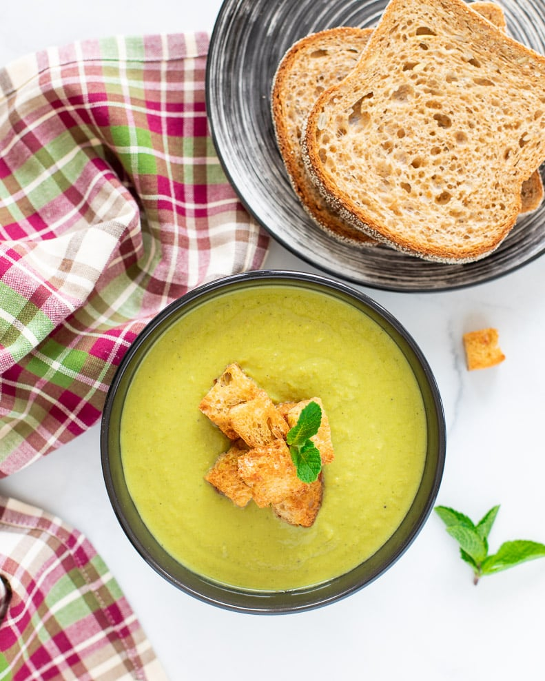 Vegan Pea Soup in a bowl taken from above