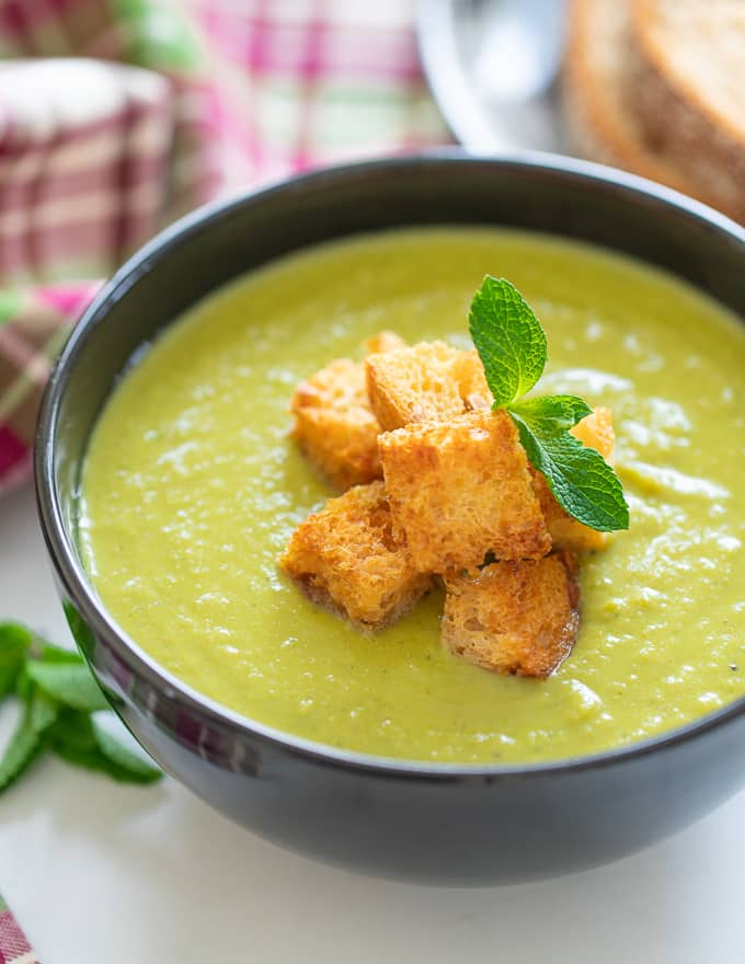 Vegan Pea Soup with golden croutons