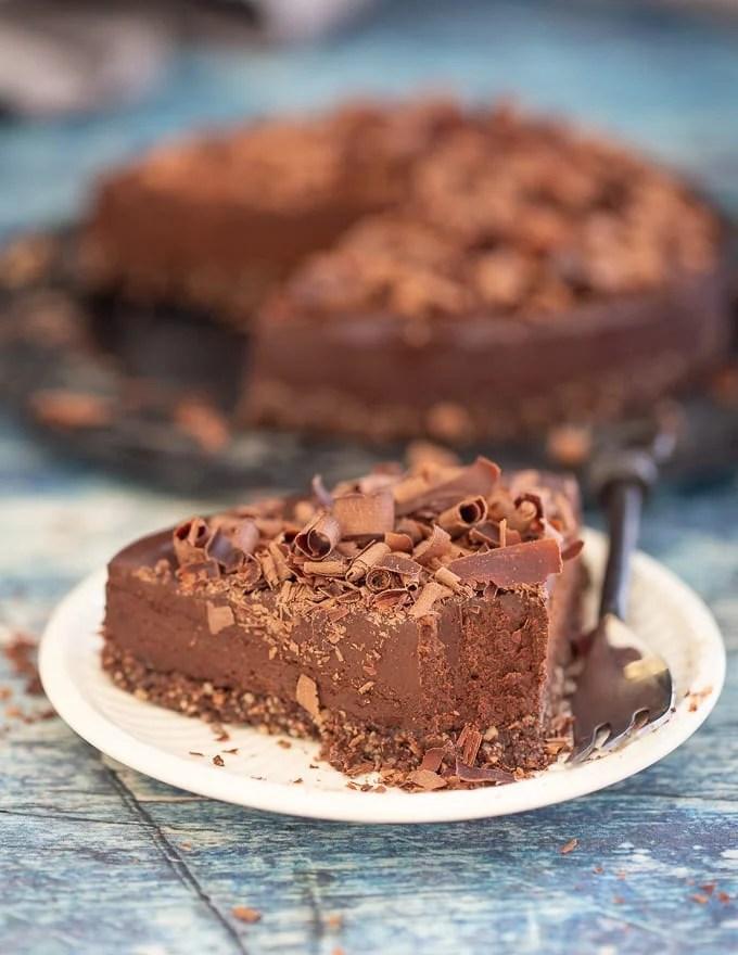 No-Bake Espresso Chocolate Fudge Cake with bite taken