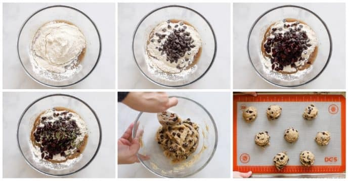 Step by step photographs in a collage of making Vegan Chocolate Chip Cookies with Cranberries and Rosemary