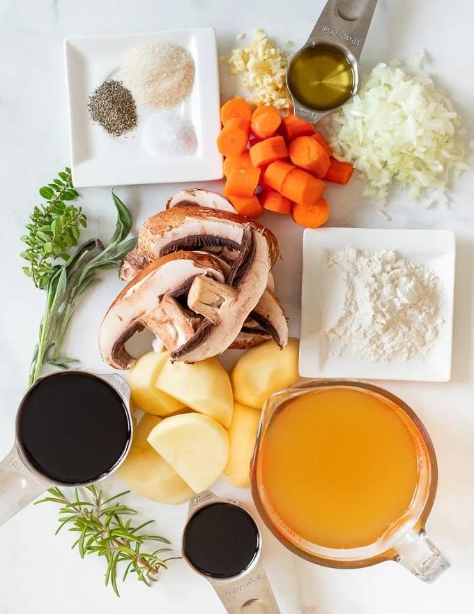 ingredients for Vegan Instant Pot Portobello Pot Roast